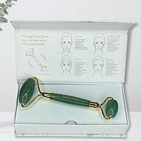 Роллер массажер для лица из натурального камня Авантюрин. Lux класса в подарочной упаковке от Amazing body