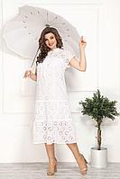 Женское летнее кружевное белое нарядное большого размера платье Solomeya Lux 811 белый 58р.