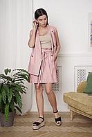 Женский летний льняной розовый брючный комплект LadisLine 1356 светлый-коралл 44р.