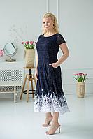 Женское летнее трикотажное синее большого размера платье ASV 2404 синий,белый 60р.