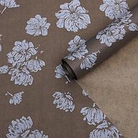 """Бумага упаковочная крафт """"Цветы тёмно-серые"""", 0,6 х 10 м, 40 г/м²"""