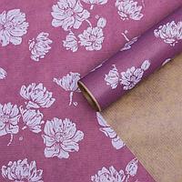 """Бумага упаковочная крафт """"Цветы фиолетовые"""", 0,6 х 10 м, 40 г/м²"""
