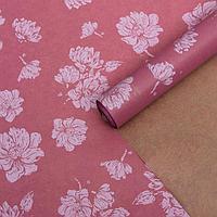 """Бумага упаковочная крафт """"Цветы розовые"""", 0,6 х 10 м, 40 г/м²"""