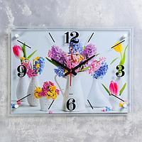 """Часы настенные """"Цветы в вазах"""" 40х56 см, плавный ход"""
