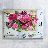 """Часы настенные """"Пионы"""" 40х56 см, плавный ход"""