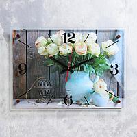 "Часы настенные ""Садовые розы"" 40х56 см, плавный ход"