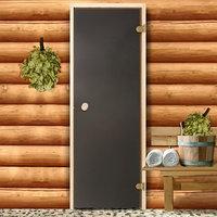 Дверь для бани и сауны стеклянная, 190x70см, 6мм, бронза матовая