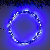 """Гирлянда """"Нить"""" 5 м роса, IP20, серебристая нить, 50 LED, свечение синее, 2 режима, 3 х AA"""
