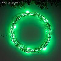 """Гирлянда """"Нить"""" 5 м роса, IP20, серебристая нить, 50 LED, свечение зелёное, 2 режима, 3 х AA"""