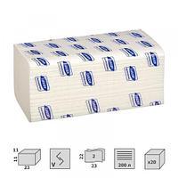 Полотенца листовые V-сложение, 2 сл, 200 листов, 22 x 23см, белый, Luscan Professional