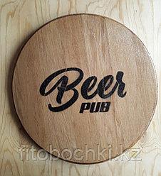 """Деревянное панно """"BEER PUB""""  (дно дубовой бочки), D 460 мм"""