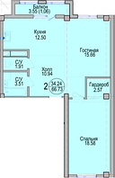 2 комнатная квартира в ЖК Алтын Отау 66.73 м²