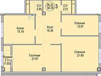 3 комнатная квартира в ЖК Алтын Отау 94.39 м², фото 1