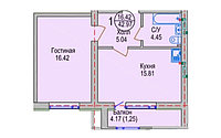 1 комнатная квартира в ЖК Алтын Отау 42.97 м²