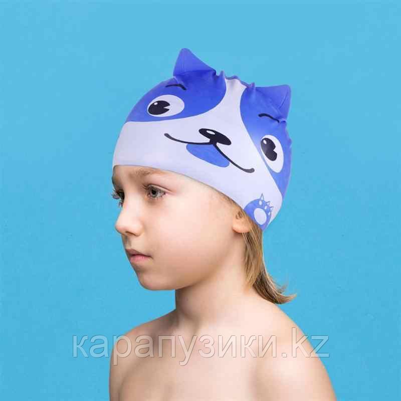 Детская шапка для бассейна силикон собачка