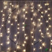 "Гирлянда ""Дождь"" - 2х6 метра, 600 лампочек, тёплый-белый свет, светит постоянно"
