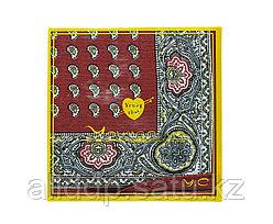 Платок носовой в упаковке (красный с узорами), 12 см