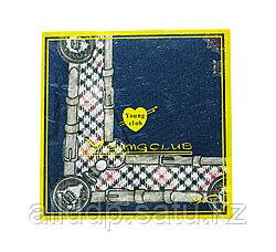 Платок носовой в упаковке (синий с узорами), 12 см