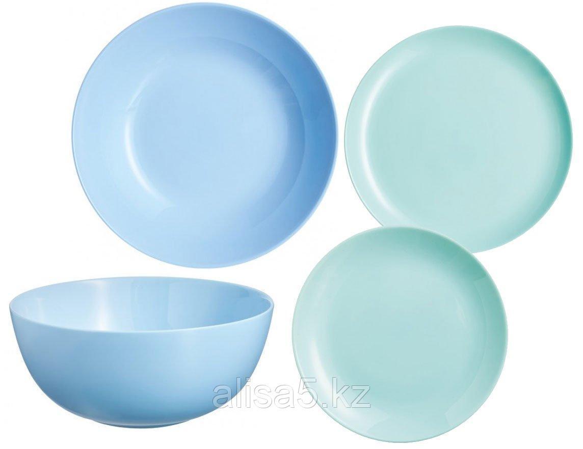 DIWALI LIGHT TURQOISE+BLUE столовый сервиз на 6 персон из 19 предметов, шт
