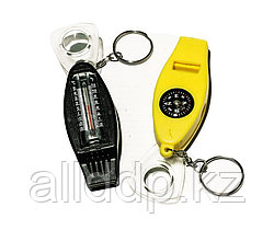 Многофункциональный свисток компас + термометр + складная лупа + брелок