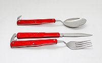 """Складные приборы """"Набор туриста 3"""" (нож, вилка,ложка), красные"""