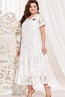 Женское летнее хлопковое белое большого размера платье Vittoria Queen 13933 белый 54р.