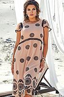 Женское летнее бежевое большого размера платье Vittoria Queen 12073 песочный+черный 48р.