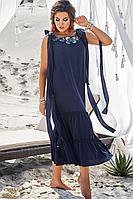 Женское летнее хлопковое синее нарядное большого размера платье Vittoria Queen 12793/1 синий 58р.