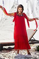 Женское летнее хлопковое красное нарядное большого размера платье Vittoria Queen 12793 красный 50р.