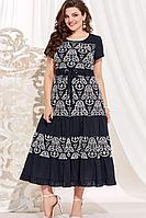 Женское летнее хлопковое синее нарядное большого размера платье Vittoria Queen 13863 темно-синий_молоко 60р.