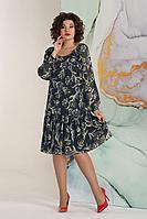 Женское летнее шифоновое синее нарядное большого размера платье Avanti Erika 1173-1 48р.