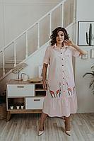 Женское летнее хлопковое розовое платье Ольга Стиль С-678 светло-розовый 50р.