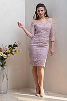 Женское осеннее кружевное розовое нарядное платье Condra 4316 48р.