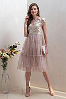 Женское осеннее розовое нарядное платье Condra 4321 42р.