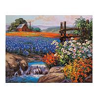 Роспись по холсту «Поля цветов» по номерам с красками по 3 мл+ кисти+инстр+крепеж, 30 × 40 см