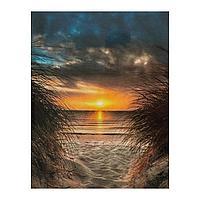 Роспись по холсту «Закат на океане» по номерам с красками по 3 мл+ кисти+инстр+крепеж, 30 × 40 см