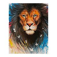 Роспись по холсту «Лев красавец» по номерам с красками по 3 мл+ кисти+инстр+крепеж, 30 × 40 см