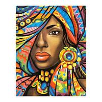 Роспись по холсту «Негритянка» по номерам с красками по 3 мл+ кисти+инстр+крепеж, 30 × 40 см