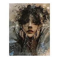 Роспись по холсту «Портрет девушки» по номерам с красками по 3 мл+ кисти+инстр+крепеж, 30 × 40 см