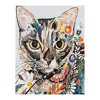 Роспись по холсту «Киса в цветах» по номерам с красками по 3 мл+ кисти+инстр+крепеж, 30 × 40 см