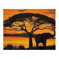 Роспись по холсту «Африка» по номерам с красками по 3 мл+ кисти+инстр+крепеж, 30 × 40 см