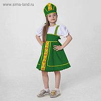 Костюм русский народный, платье, кокошник, рост 122-128 см, 6-7 лет, цвет зелёный