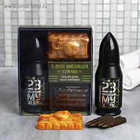 """Набор """"С днем настоящих мужчин"""" пуля гель для душа 200 мл аромат парфюма, фигурное мыло"""
