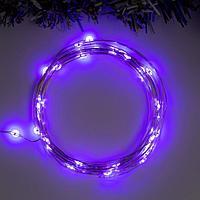 """Гирлянда """"Нить"""" 5 м роса, IP20, серебристая нить, 50 LED, свечение фиолетовое, 2 режима, 3 х AA"""
