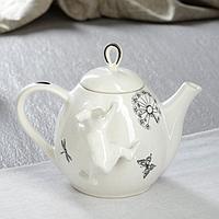 """Чайник для заварки """"Петелька"""", белый, зайчик и одуванчик, 0.8 л"""