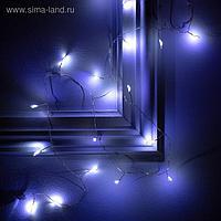 """Гирлянда """"Мишура"""" 1 м роса, IP20, серебристая нить, 20 LED, свечение белое, фиксинг, 2 х CR2032"""