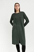 Трикотажное женское платье прямого кроя с шерстью Finn Flare, цвет темно-зеленый, размер S