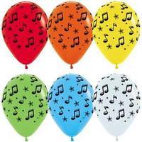 Шар латексный 12' 'Музыкальные ноты', пастель, 5-сторонний, набор 5 шт., МИКС
