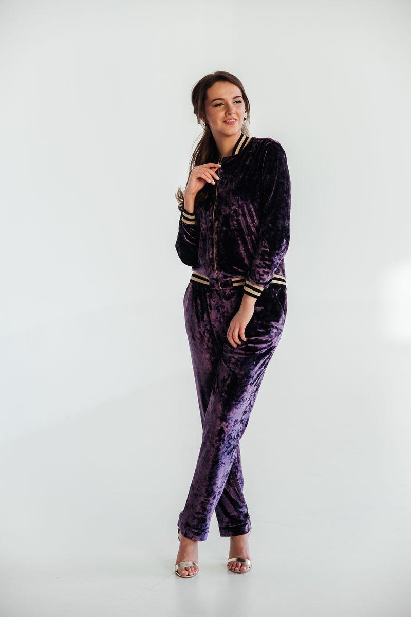 Женский осенний трикотажный фиолетовый спортивный спортивный костюм Edibor 2006 фиолет 50р. - фото 1