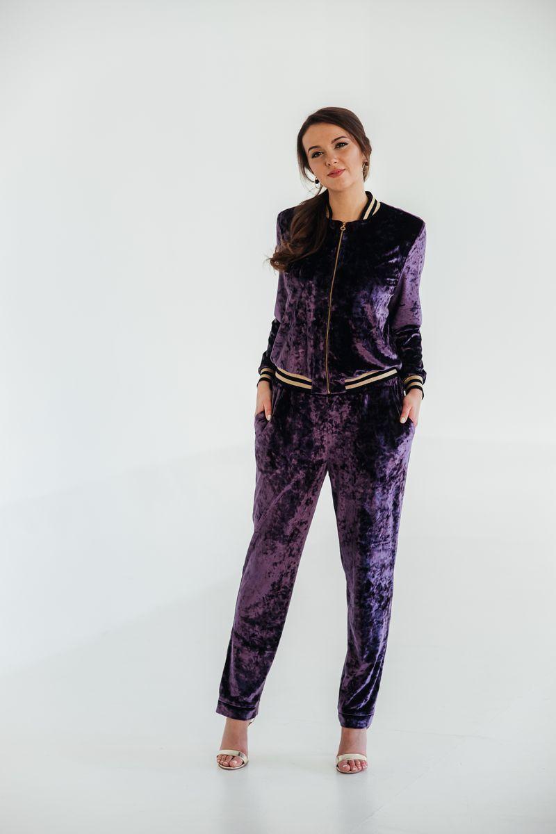 Женский осенний трикотажный фиолетовый спортивный спортивный костюм Edibor 2006 фиолет 50р. - фото 2